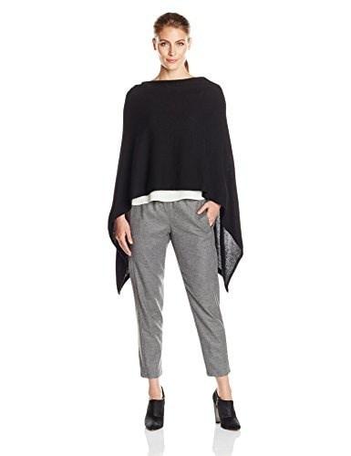 Minnie Rose Womens Cashmere Hooded Ruana, Black, One Size
