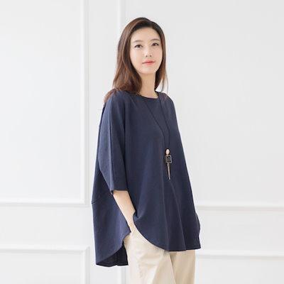 マダム4060ママの服に広がることに無知ラウンドティーシャツXTE708005 ティーシャツ / ソリッド/無知ティーシャツ / 韓国ファッション