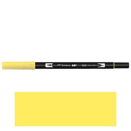トンボ鉛筆 デュアルブラッシュペン AB−T 062 ABT 水彩 スケッチ 画材 カリグラフィ イラスト ツインタイプ(ペールイエロー)