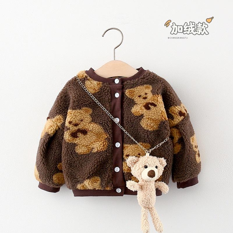 2020秋と冬の子供服の卸売とベルベットで覆われたクマの印刷コートジャケット女性のトントン小B5F028