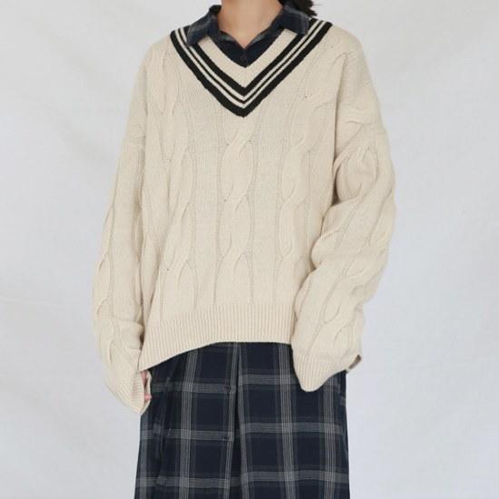 デイリー・マンデーTwist coloration vneck knitニート ニット/セーター/ニット/韓国ファッション