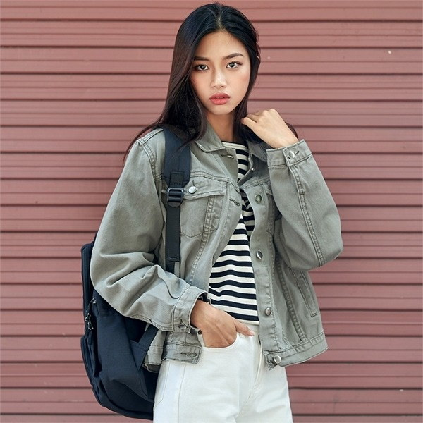 ロコ・シックスdaily cotton jacketジャケット デニム/ライダー / 韓国ファッション/ジャケット/秋冬/レディース/ハーフ/ロング/