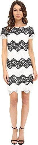 London Times Womens Denim Lace Stripe Shift Black/White Dress 12