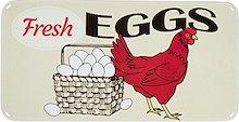 商標イノベーションチキンと卵ビンテージレトロティンサイン15.7