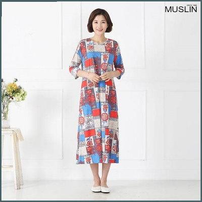 [モスリン]ママの服ペイズリースケッチのホームドレスEHO904025 /トレーニング下/ スウェットパンツ/韓国ファッション