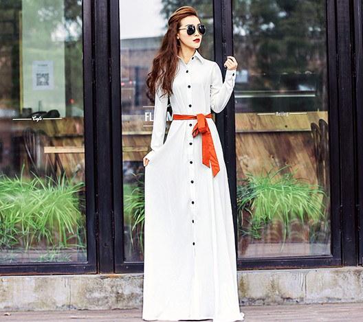 女性らしいシルエットを引き立たせるシンプルなデザイン シャツ ロング ワンピース マキシ
