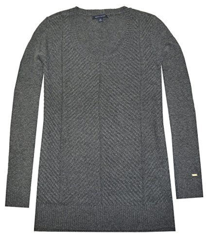 Tommy Hilfiger Women Textured Mix Sweater (S, Charcoal Grey Heather)