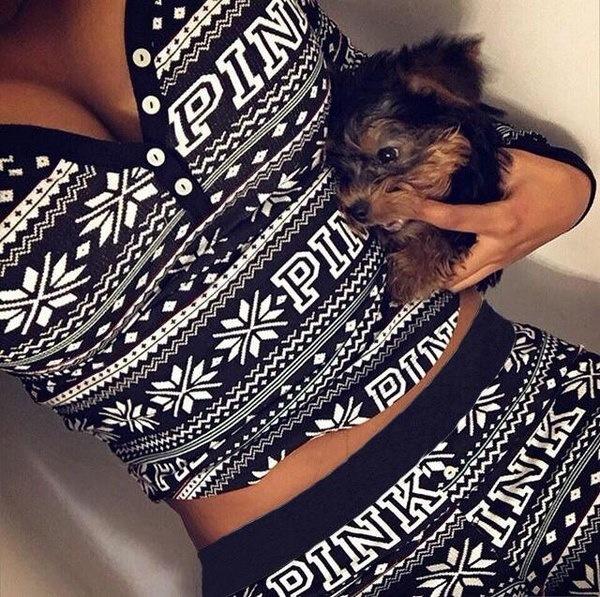 秋冬ファッション2ピースセットトラックスーツ女性用ズボンとスーツスーツSnowflake Printed Grey Tra