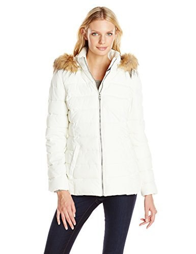 Tommy Hilfiger Womens Down Alternative Coat with Faux Fur Trim Hood, Ivory, Large