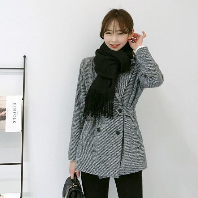 レトロな感性ウールダブルジャケットkorean fashion style
