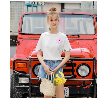 お花 刺繍 袖コンシャス Uネック Tシャツ カジュアル 可愛い