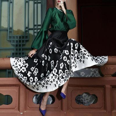 DINT(韓国ファッション)「DINT」 ★送料無料★SK1348♥フローリアンサテンロングスカート♥ラグジュアリーオフィスルック♥働く女性のお洒落なオフィススタイル提案!!