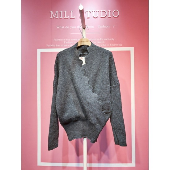 スタジオホワイトウェーブラップニットシャツMCA31Q064 ロングニット/ルーズフィット/セーター/韓国ファッション