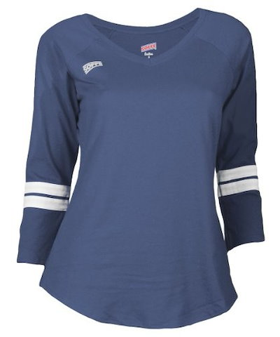 Soffe Womens Tailgate Jersey Tee, Small, Navy
