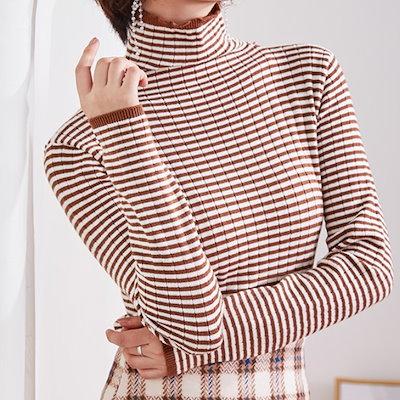 タートルネックのストライプニットシャツ☆0738