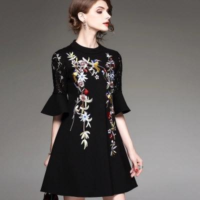 新作レース刺繍ドレス5分袖Aラインレディース ファッション  結婚式 ドレス タイト 着痩せ ショート  パーティードレス大きいサイズ 上品 お呼ばれ