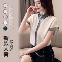 2021年新作韓国ファッションブラウス レディース オフィス 半袖 襟付き vネック シフォン 大きいサイズ きれいめ 夏 トップス 通勤 おしゃれ ゆる 大人 服ブラウス高品質販売可愛いシャツ超オス