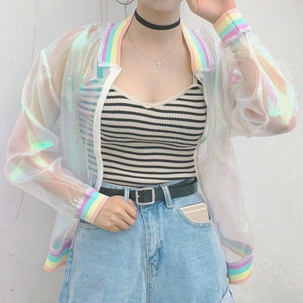 夏の女性のジャケットレーザーレインボーシンフォニーホログラム女性の基本コートクリアイリジウム透明なB