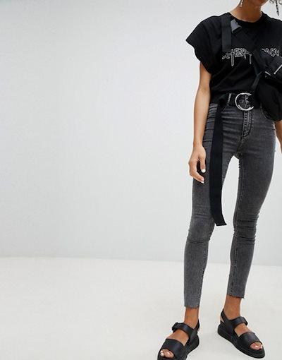 チープマンデー レディース デニムパンツ ボトムス Cheap Monday High Waisted Washed Black Super Skinny Jean