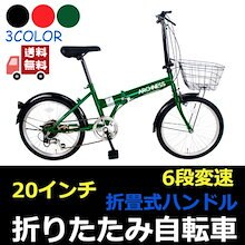 ARCHNESS 206-B 折りたたみ自転車 カゴ付  20インチ 6段変速