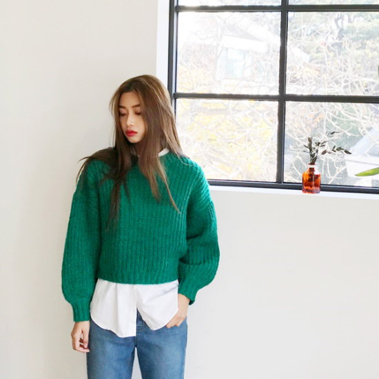 欲しいかプルロプ・クロップニット ニット/セーター/ニット/韓国ファッション