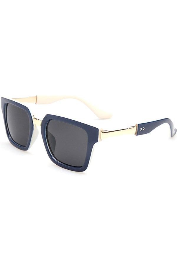 シックなカラースプライスメタルスプライスサングラス、女性用