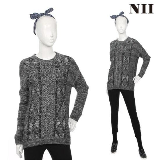 に女性ボカシルーズフィットケーブルラウンドセーター ニット/セーター/ニット/韓国ファッション