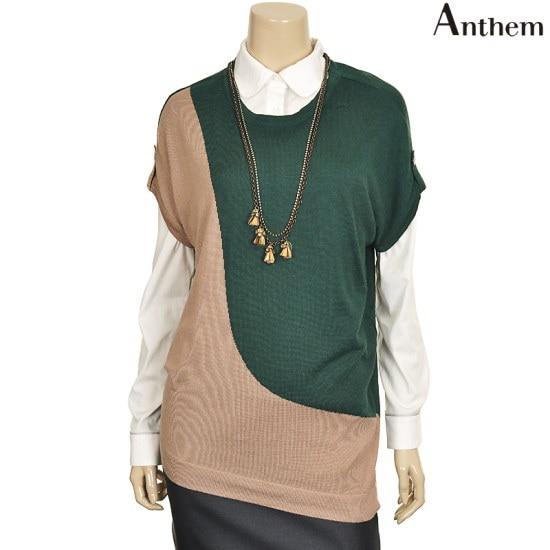 アンセムタブ装飾ブロック配色ロング・ニットMVTBSPF722143 ロングニット/ルーズフィット/セーター/韓国ファッション