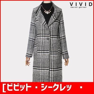 [ビビット・シークレット・ガーナー][VIVID SG]ラブリーフードチェックウールのコートVS847003 /ハーフコート/コート/韓国ファッション
