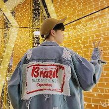 原宿風 oversize  メンズファッション コート デニムジャケット アウター 韓国ファッション