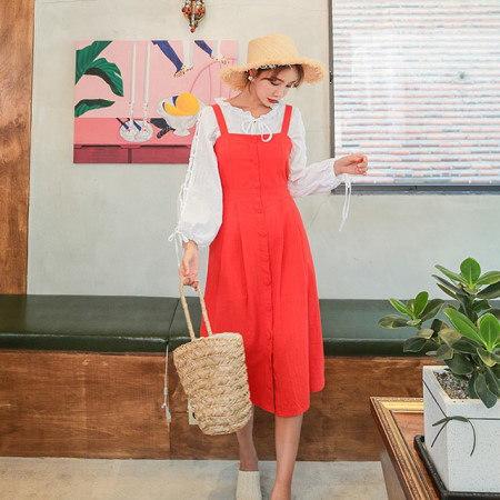 重ね着でスパンからボタンリネンロングワンピースデイリールックkorea women fashion style