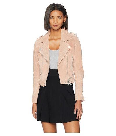 ブランクニューヨーク レディース コート アウター Blush Pink Suede Moto Jacket in Candy Crush
