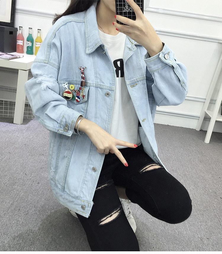 midorishop 送料無料  韓国ファッション 大きく着るボタンバッチデニムジャケット  価格よりクオリティいい 実際の写真添付