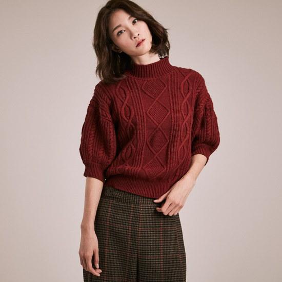 テオドゥDWP001ケーブル組織、半そでのプルオーバー ニット/セーター/ニット/韓国ファッション
