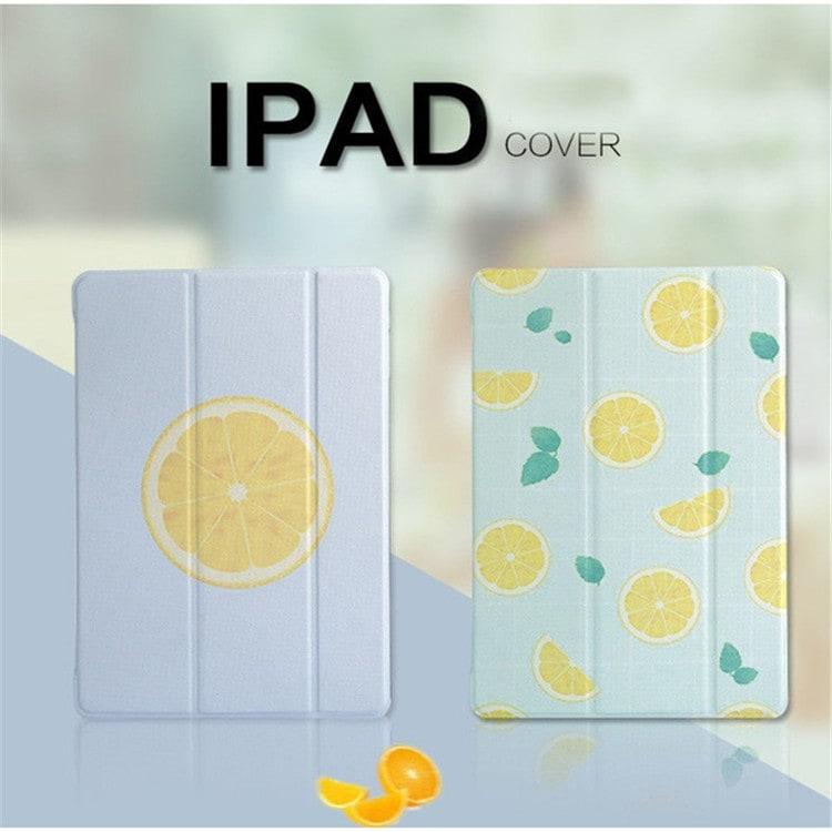 new iPad 2017 ケース おしゃれ 第五世代 A1822 A1823 iPad Air2 iPad mini4ケース 手帳型アイパッド 超薄型 かわいいレモン 新型 iPad カバー