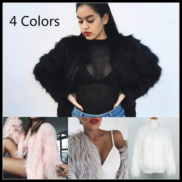 4色女性白フェイクファーコートジャケット冬春アウターレディースウールコート毛皮ロングヘアW