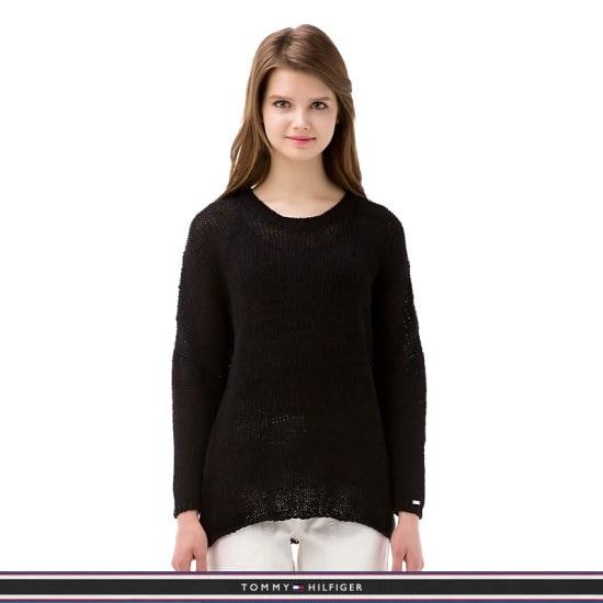 トミー・ヒルフィガー女性・クルー・ネック・ニットセーターTFMQ1WOE67A0N60 ロングニット/ルーズフィット/セーター/韓国ファッション