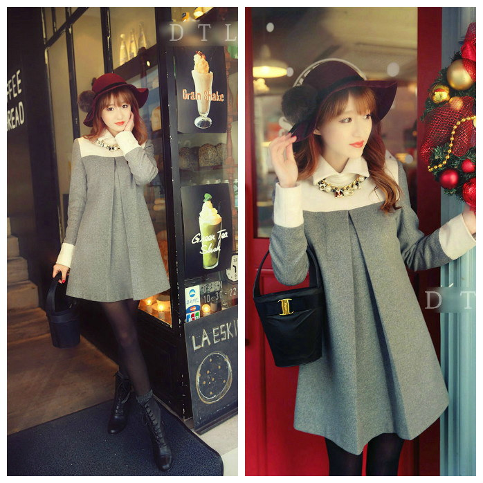 キュート☆キレイスタイル ミニ ワンピース ドレス Aライン 白襟 ※納期に10日から14日ほどかかります。