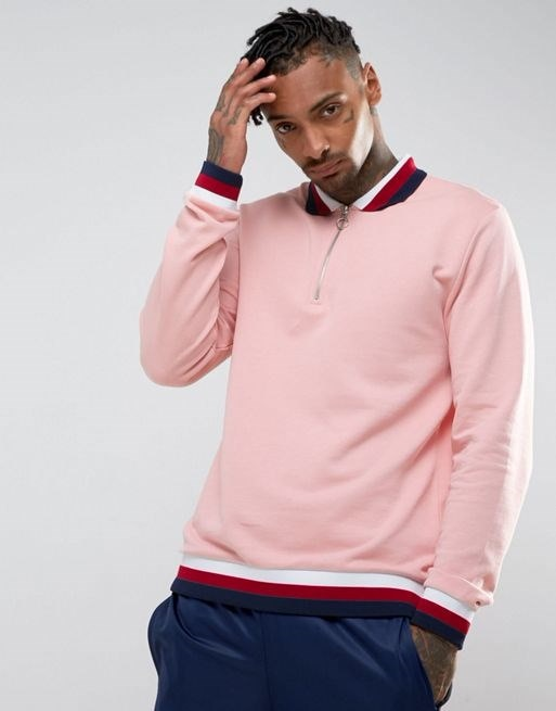 ASOS Half Zip Sweatshirt With Tipped Collar & Ribs