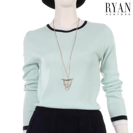 [リアンニューヨーク]ラウンド配色プルオーバー(RKBKPO8L0) / ニット/セーター/ニット/韓国ファッション