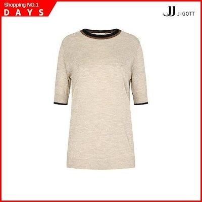 [ジェイジェイジコトゥ](JJジコトゥ)配色ラウンド5部ニットGH9R1KT19 /ニット/セーター/ニット/韓国ファッション