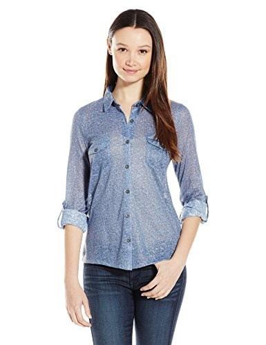 Derek Heart Juniors Long Sleeve Button Front Faux Shirt, Denim, Small