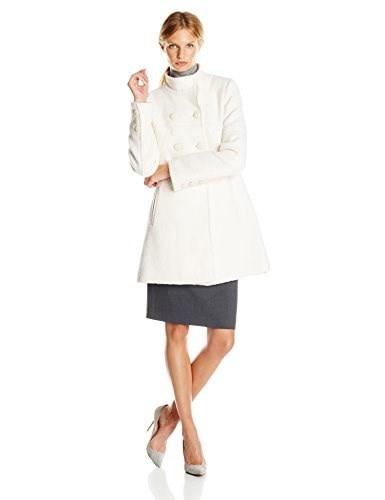 Jessica Simpson Womens Double Breasted Boucle Wool Coat, Off White, Large