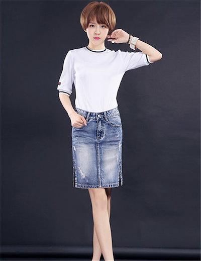 まずはスカートから秋を・・・♪ひざ丈&ミモレ丈/デニムスカート/高品質 /韓国 ファッション ダメージ加工/ハイウエストスカート/ロングスカート/スリットスカート/デニムスカート/タイトスカートやせて