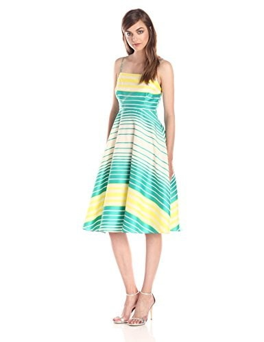 Tracy Reese Womens Mixed Stripe Fit and Flare Frock Dress, Hibiscus/Delphinium, 8
