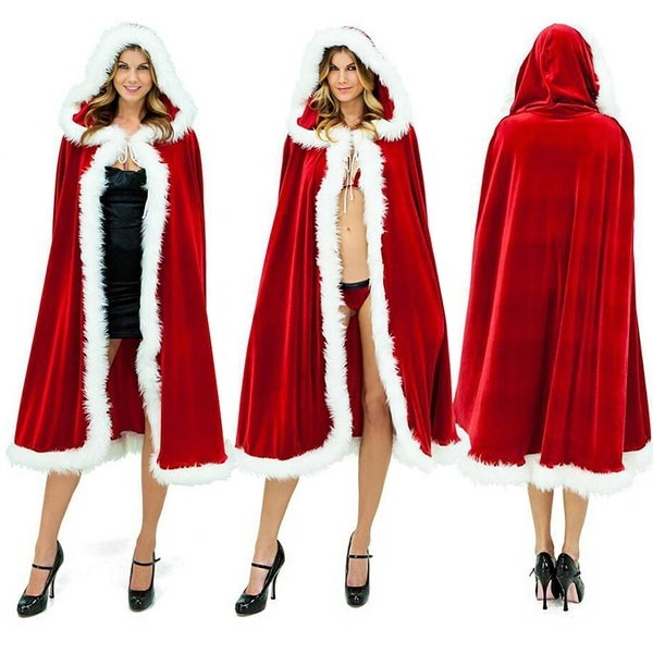 ユニセックスハロウィーンクリスマスサンタクロースコスプレレッドパーカーコスプレケープクロークコスチューム長さ110cm-15