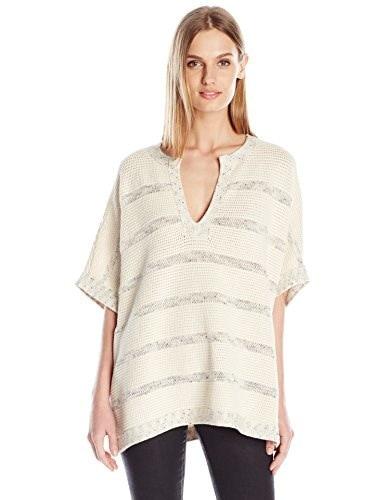 Vince Womens Sweater Speckle Stitch Popover, Off White/Black/Bone, X-Small/Small