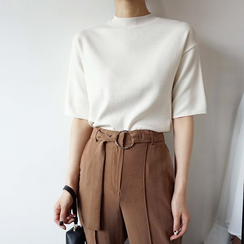 [ラルム】トゥルーアーバンネックニット4col korea fashion style