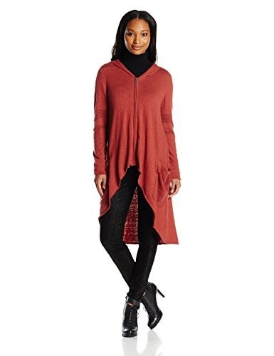 Democracy Womens Long Sleeve Zip Front Hi Low Hooded Duster, Henna, Large