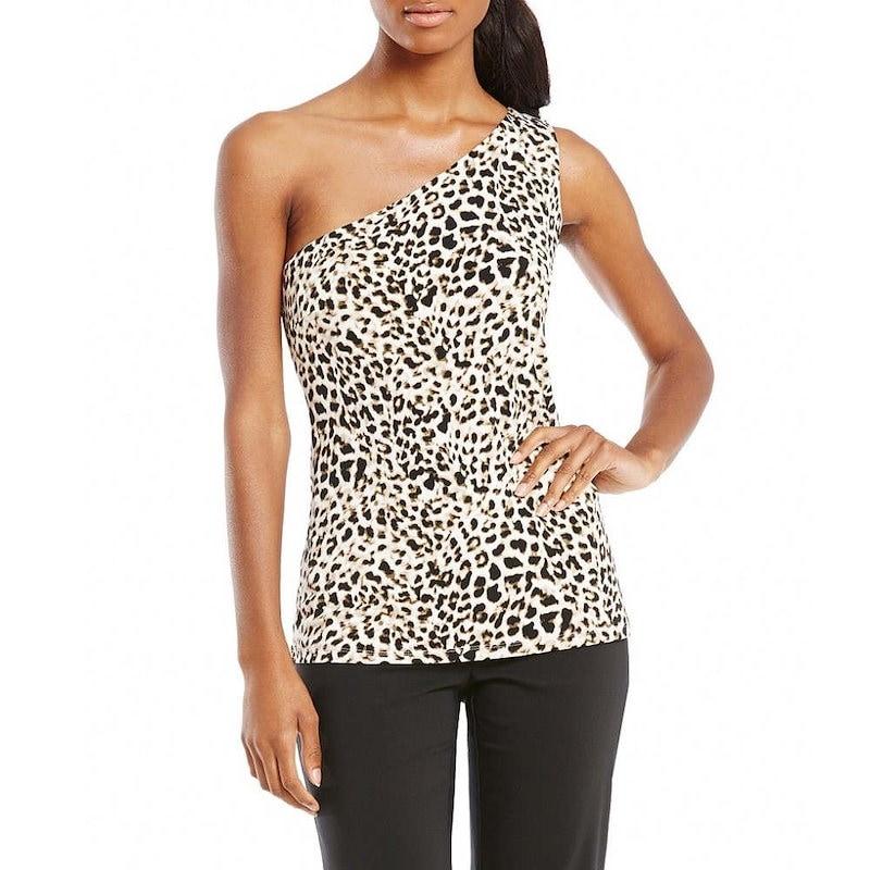 カルバンクライン レディース トップス ブラウス・シャツ【Calvin Klein Leopard Print Matte Jersey One-Shoulder Top】Leopard